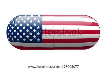 Pill wrapped in a US Flag - stock photo