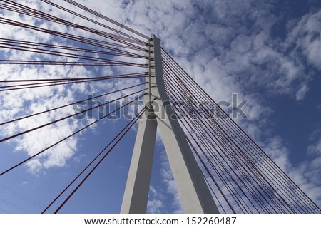 Pillar of the bridge suspended situated in Gdansk - stock photo