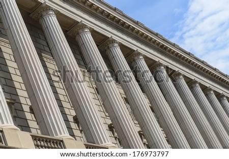 Pillars and Brick Wall - stock photo
