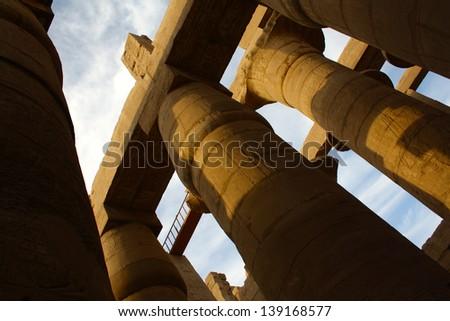 Pillars at Temple of Edfu, Edfu, Egypt - stock photo