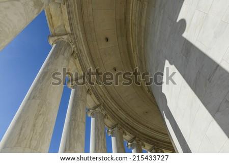 Pillars at the Jefferson Memorial - stock photo
