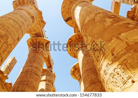 Pillars of the Great Hypostyle Hall in Karnak Temple, Egypt - stock photo