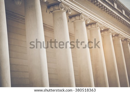 Pillars to a Courthouse with Vintage Style Filter - stock photo