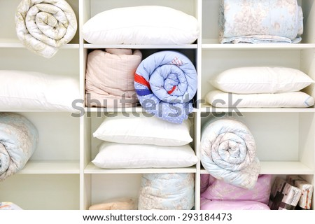 pillow and quilt ,bed room - stock photo