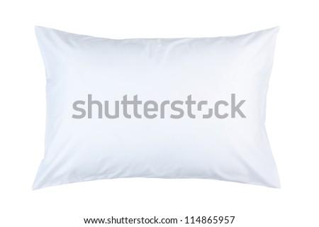 pillow with white pillow case on white background - stock photo