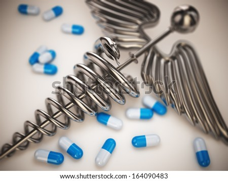 Pills and caduceus pharmacy symbol on white isolated background. 3d - stock photo