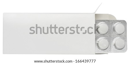 Pills blister in a box on a white background. - stock photo