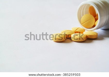 pills capsules and medicine for health care in white isolated background - stock photo
