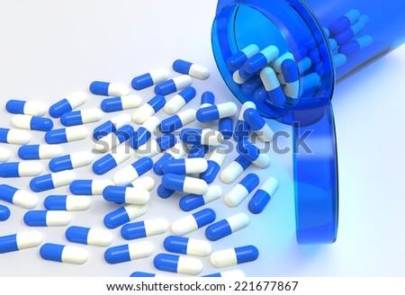 Pills 3d spilling out of pill bottle on white  - stock photo