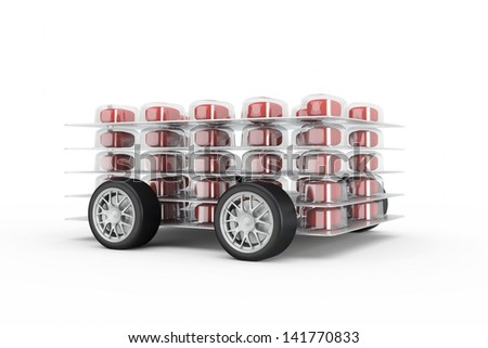 Pills fast delivery with read pills and wheels - stock photo