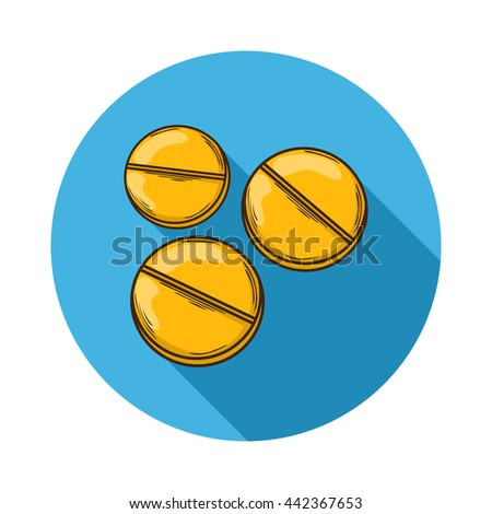 Pills icon. Pills icon isolated with shadow.Hand draw Pills .Medical Pills icon.A small round mass of solid medicine to be swallowed whole. pills icon flat isolated on background - stock photo