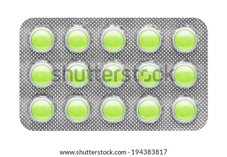 pills in blister, isolated on white background - stock photo