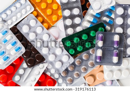 Pills in blister pack, medicine - stock photo