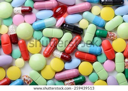 pills isolated on white background - stock photo
