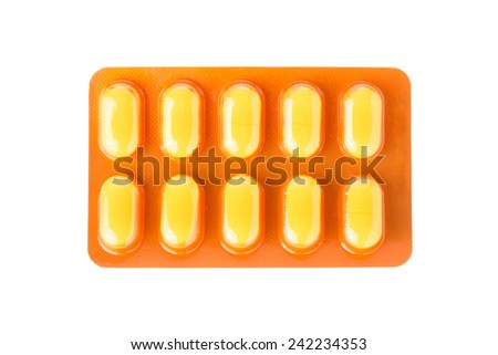pills of medicine isolated on white background - stock photo
