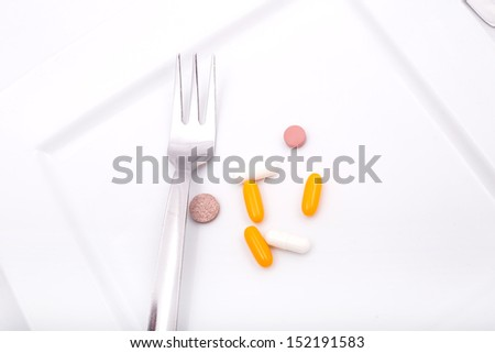 Pills or medication as a dietary supplementation. - stock photo