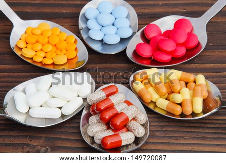 Pills, tablets, capsules - stock photo