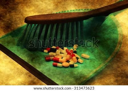 Pills trash grunge concept - stock photo