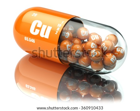Pills with copper cuprum Cu element. Dietary supplements. Vitamin capsules. 3d - stock photo