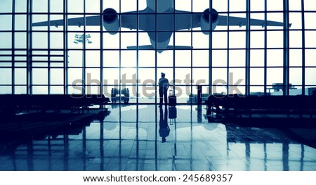 Pilot Airport Terminal Waiting Standing Alone Travel Concept - stock photo