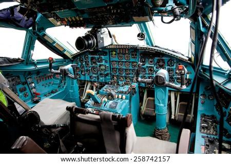 Pilot cabin interior inside - stock photo