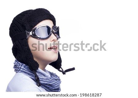 Pilot kid isolated on a white background - stock photo