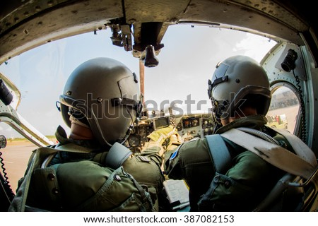Pilot, soldier, pilot, two soldiers.  - stock photo