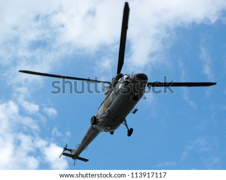 PILSEN, CZECH REPUBLIC - AUGUST 25: Modern rescue military helicopter W-3A Sokol flies to save lifes, Pilsen airshow on August 25, 2012 in Pilsen, Czech republic. - stock photo