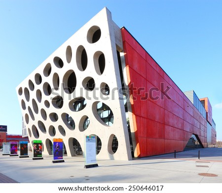 PILSEN CZECH REPUBLIC - FEBRUARY 6, 2015: The New Theatre building includes 650 seats in two auditorium. Pilsen theatre is the organiser of the International Festival Theatre. - stock photo