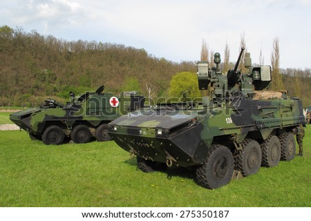 PILSEN, CZECH REPUBLIC - MAY 2, 2015: Pandur II armoured vehicles, Czech Army. Liberation festival in Pilsen. - stock photo