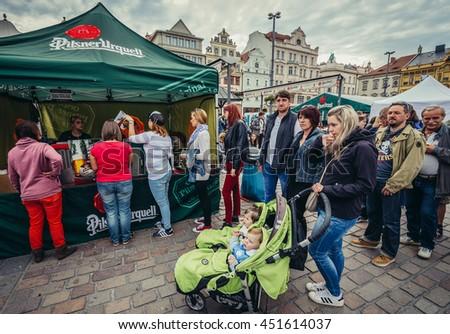 Pilsen, Czech Republic - October 3, 2015. Participants of Pilsen Fest on the main square of the Old Town of Pilsen (Plzen) city - stock photo