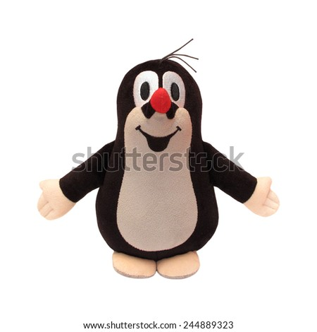 PILSEN, CZECH REPUBLIC - 17th January 2015: Little mole isolated on the white background. Famous Mole character (in czech Krtek) was created by Czech animator Zdenek Miler in 1956. - stock photo