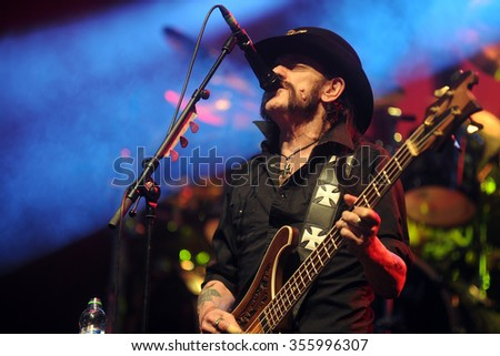 PILSEN - JULY 4: Singer and bass guitarist Lemmy Kilmister of Motorhead during performance at festival Rock for People Europe in Pilsen, Czech republic, July 4, 2015. - stock photo