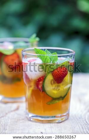 Pimms and lemonade - stock photo
