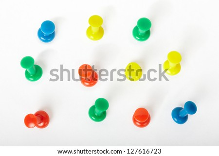 Pin collection isolated on white, clipping path included - stock photo