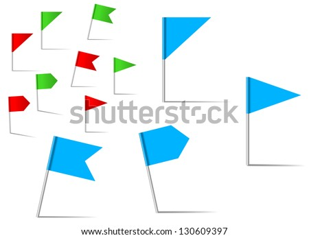 Pin flags set for navigation and location service. Vector version also available in gallery - stock photo