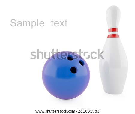 Pin for bowling with blue ball isolated on white background. 3d illustration high resolution - stock photo