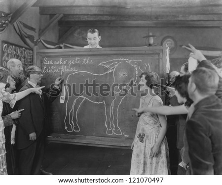 Pin the tail on the donkey - stock photo