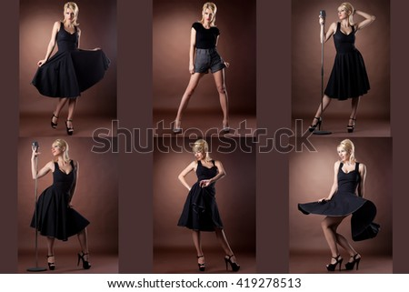 Pin-up. Collection of sexy blonde posing as singer - stock photo