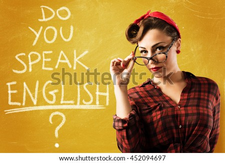 Pin-up english teacher - stock photo