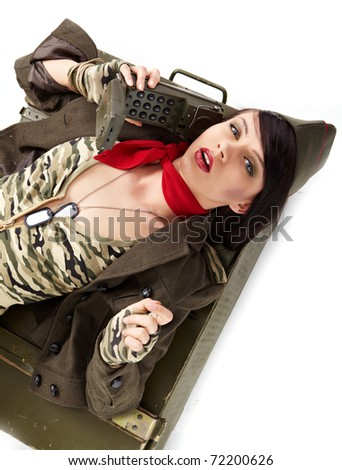 pin-up image of sexy lovely brunet in military form - stock photo