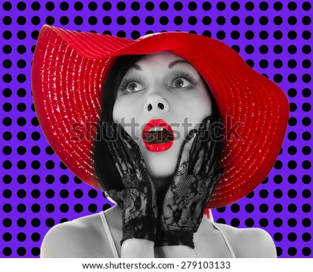 Pin-up woman with red hat and lips on violet background - stock photo