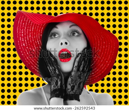 Pin-up woman with red hat and lips on yellow background - stock photo