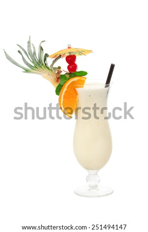 Pina colada cocktail made of 2 oz rum,5 oz pineapple juice (blended),1 tbsp cockonut cream  - stock photo