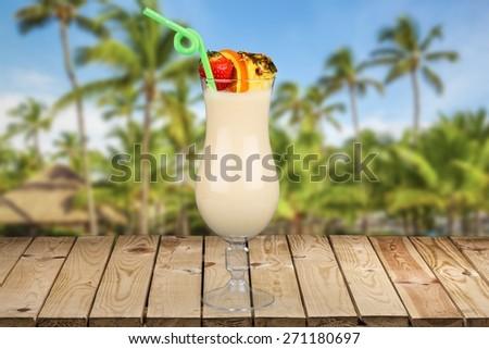 Pina Colada. Cocktails on white: Pina Colada. - stock photo