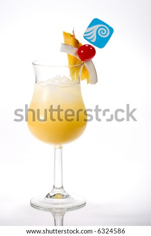 Pina Colada cocktails. Rum, pineapple juice, coconut cream  garnished with slice of pineapple, coconut and maraschino cherry. Most popular cocktails series. - stock photo