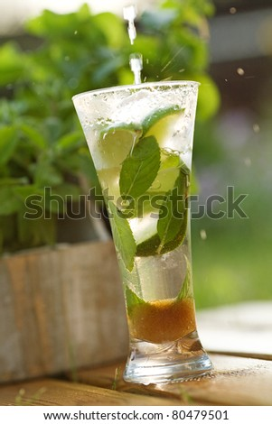 Pinacolada cocktail from coconut milk and pineapple juice - stock photo