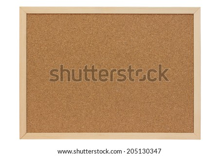 Pinboard of cork with wooden frame - isolated - stock photo