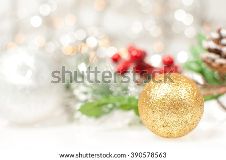 Pine branches with Christmas ornaments. - stock photo
