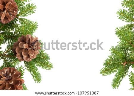 Pine cones and needles, framework - stock photo
